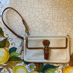 COACH leather wristlet with buckle detail